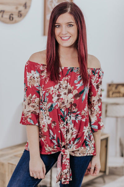 *DEAL*  Little Did She Know Floral Front Tie Ruffle Short Sleeve Top in Red - Filly Flair