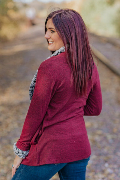 Heart And Home Long Sleeve Sherpa Trim Cardigan in Heather Burgundy - Filly Flair