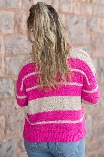 I Am Free Striped Detail Long Sleeve top in Fuchsia - Filly Flair