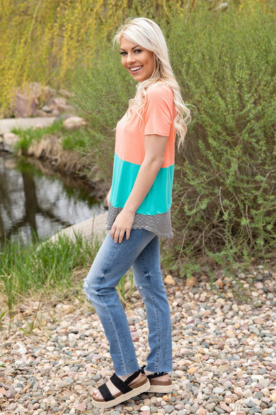Dreaming About Short Sleeve Color Block Top in Pink Turquoise - Filly Flair