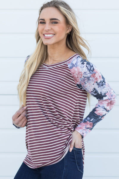 Bring Back The Memories Stripped Floral Detail Long Sleeve Top in Burgundy - Filly Flair