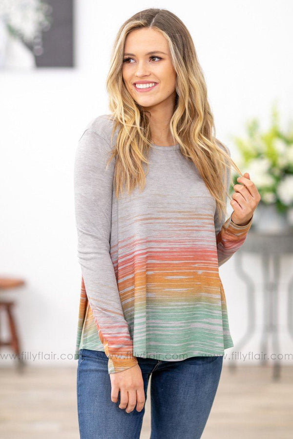 Like Me For Me Long Sleeve Multi Color Brushed Detail Top in Grey - Filly Flair