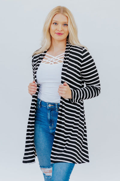 Keeping It Simple Striped Cardigan in Black - Filly Flair