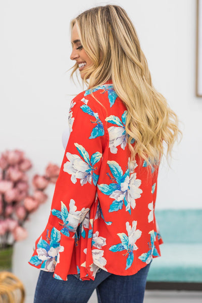 The One That I Want Floral Kimono in Red - Filly Flair
