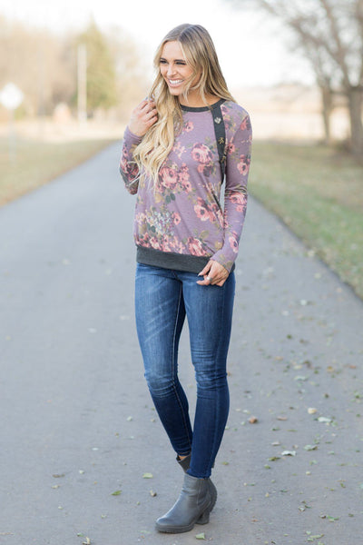 One Of A Kind Floral Print Long Sleeve Top in Mauve - Filly Flair