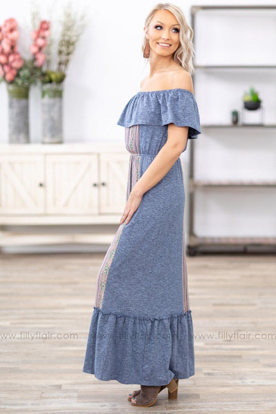What I Know Is True Ruffle Off The Shoulder Printed Maxi Dress in Heathered Navy - Filly Flair