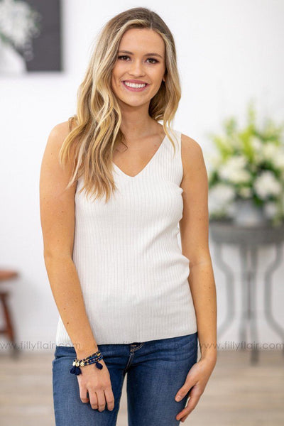 Something Better Ribbed V-Neck Tank Top in White - Filly Flair