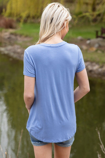 Call Me Crazy Short Sleeve V-Neck Pocket Tee in Blue - Filly Flair