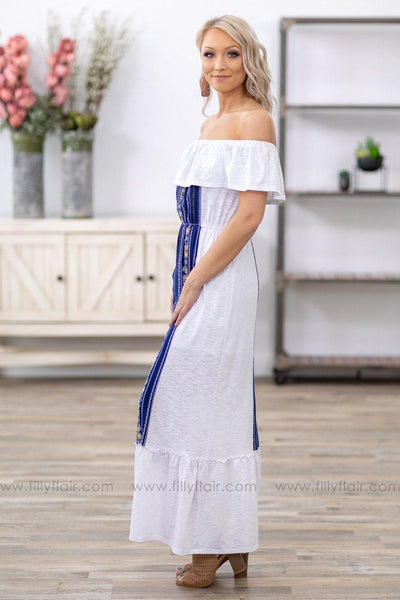 What I Know Is True Ruffle Off The Shoulder Navy Printed Maxi Dress in White - Filly Flair