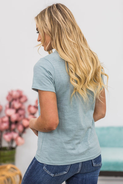 American Champion Graphic Lace Up Top in Dusty Blue - Filly Flair