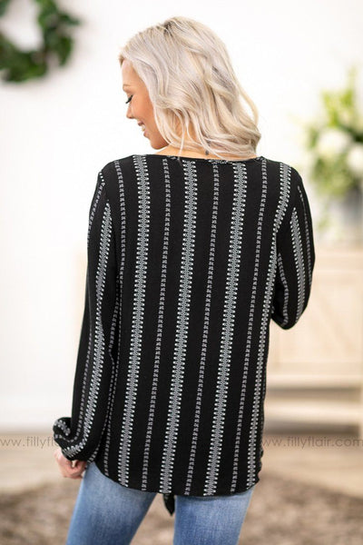 All This Time Long Sleeve Tied Knot Embroidery Printed Top in Black - Filly Flair