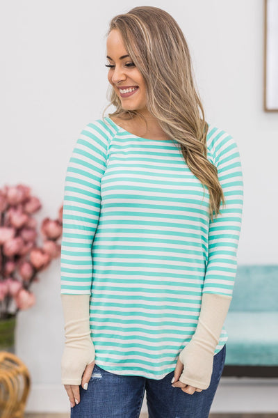 Blinded By Your Light Long Sleeve Striped Top In Mint - Filly Flair