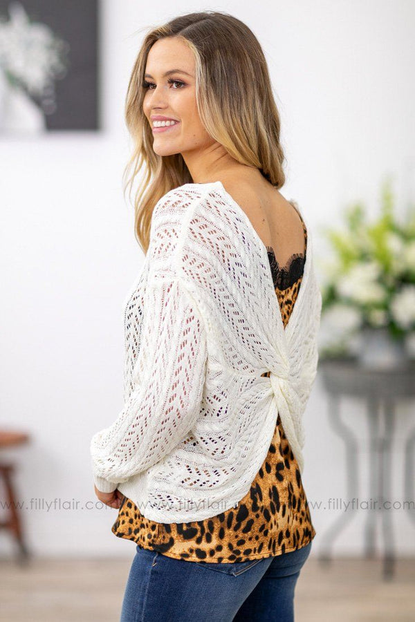 Anything and Everything Long Sleeve Twist Back Knit Sweater in White - Filly Flair