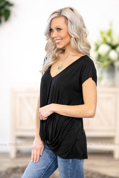 Every Which Way Short Sleeve Rolled Knot Top in Black - Filly Flair