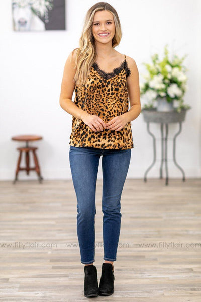 I'll Show Up Black Lace Detail Tank Top in Brown Leopard - Filly Flair