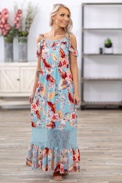 Road Less Traveled Cold Shoulder Floral Lace Maxi Dress in Blue - Filly Flair