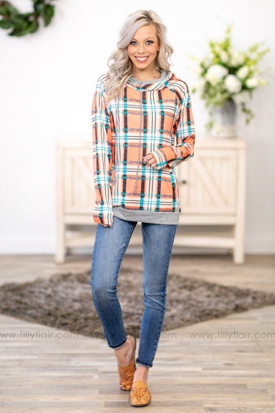 Words of Wisdom Long Sleeve Plaid Double Hoodie in Coral Teal - Filly Flair