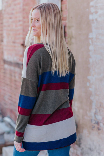 Try Your Best Striped Long Sleeve V Neck Tunic in Olive - Filly Flair