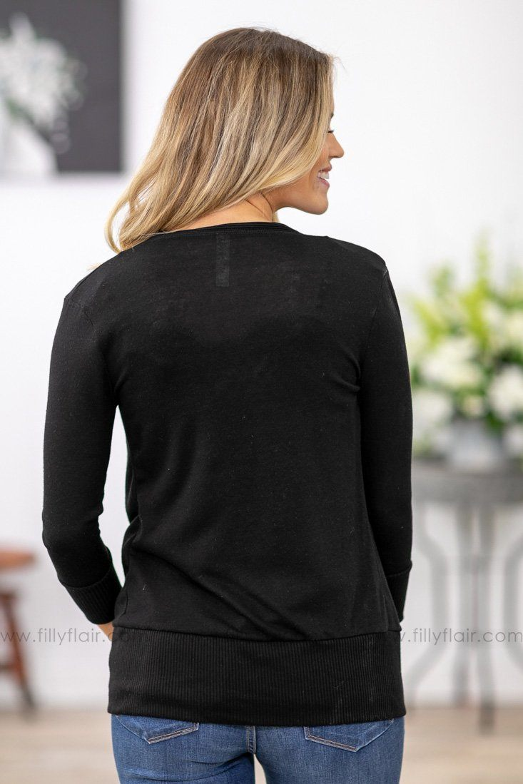 Say It To Me 3/4 Sleeve V-Neck Button Cardigan In Black - Filly Flair