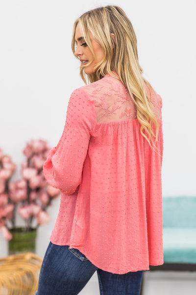 Slow It Down Long Sleeve Button Down Lace Blouse In Coral - Filly Flair