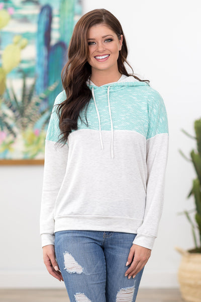 Some Kind of Dream Color Block Hoodie in Mint - Filly Flair