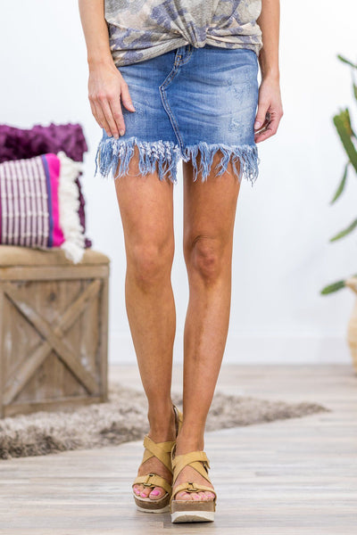 Kaleena Kan Can Medium Wash Frayed Hem Denim Skirt - Filly Flair