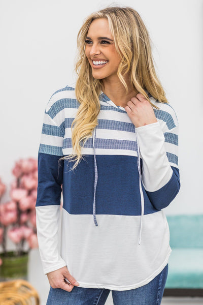 Be Positive Striped Long Sleeve Hood Top in White Navy - Filly Flair