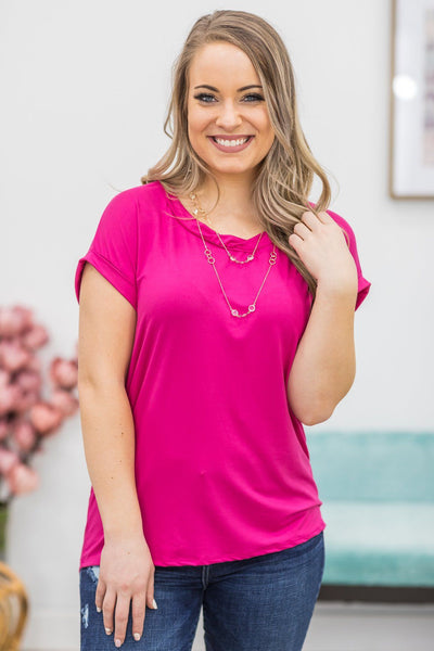 All The Ladies Blouse In Fuchsia - Filly Flair