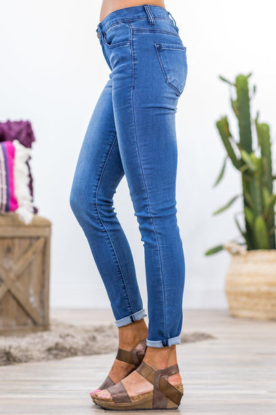 Natalie Nature Medium Wash Mid Rise Skinny Jeans - Filly Flair