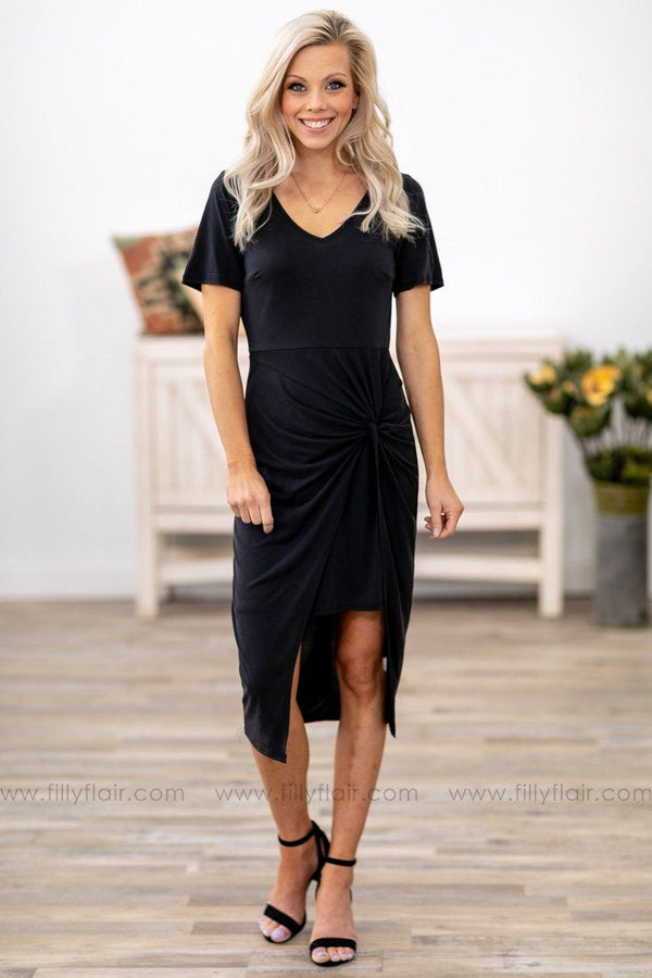 Twisted Ways Short Sleeve Dress in Black - Filly Flair
