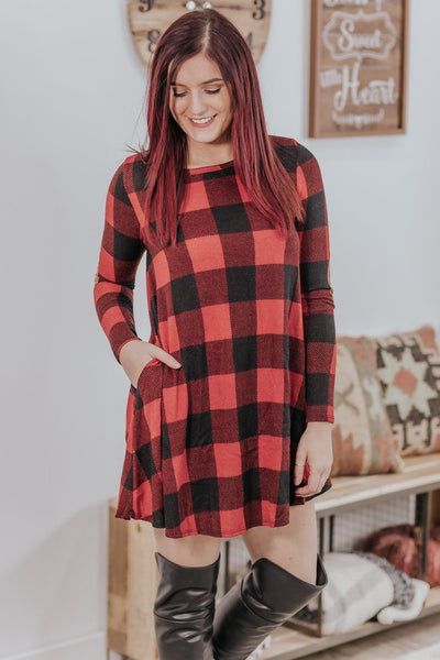 *DEAL* Winter Memories Buffalo Plaid Long Sleeve Mini Dress in Red Black - Filly Flair