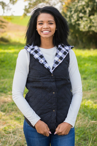 Adventures Ahead Buffalo Plaid Vest in White & Black - Filly Flair