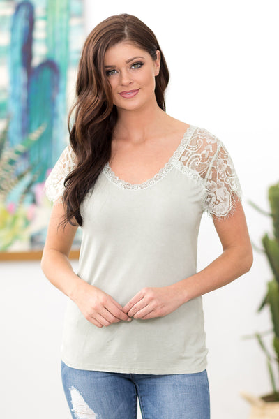POL: No One Really Knows Short Lace Sleeve V-Neck Top in Olive - Filly Flair