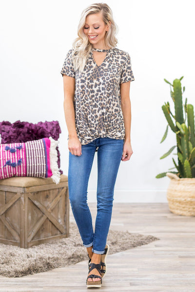 *Pre-Order* Bad Reputation Short Sleeve Keyhole Rolled Knot Top in Leopard Print *Ships 4.30* - Filly Flair