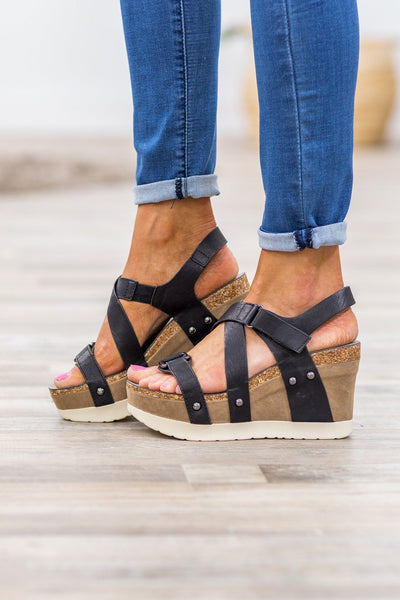 Walk By Me Platform Wedge Sandals in Black - Filly Flair