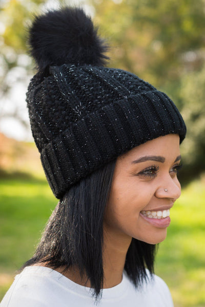 Cozy Winters Pom Pom Fur Lining Hat in Black
