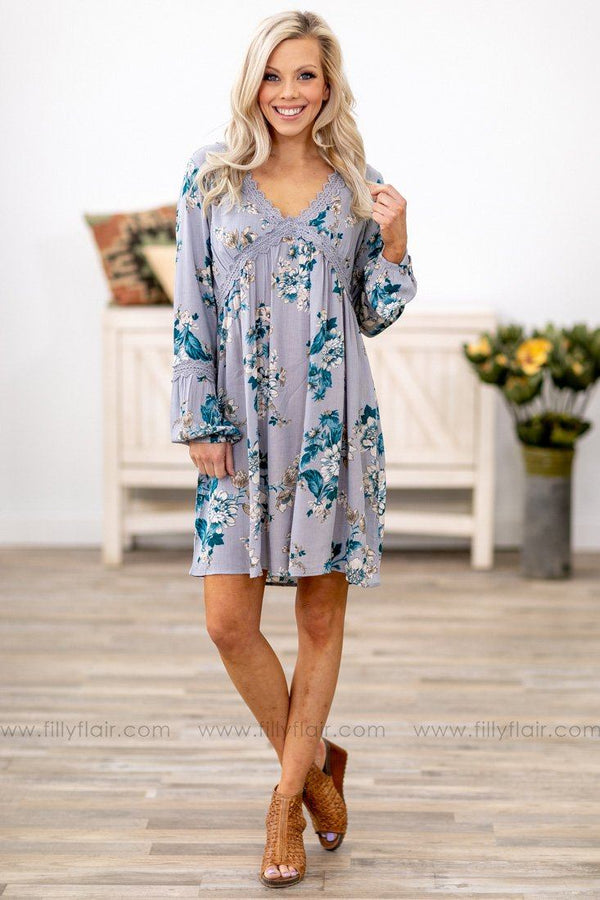 Feel Your Love Crochet Lace Floral Dress in Dusty Blue - Filly Flair