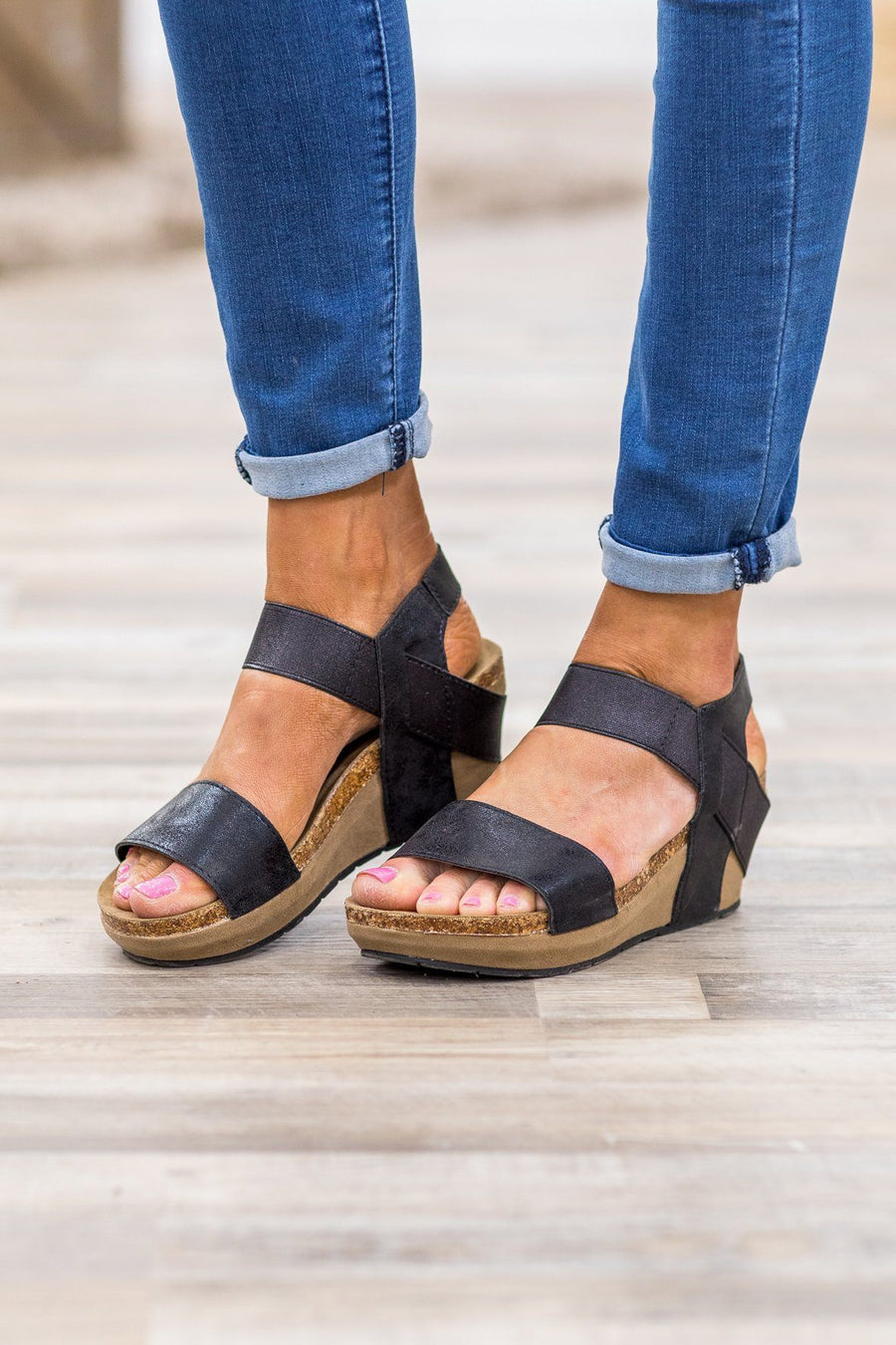 aa56038ac2cd Right Along My Side Wedge Sandals in Black