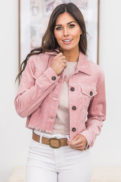 Book Of Wisdom Corduroy Jacket In Pink - Filly Flair