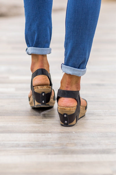 Right Along My Side Wedge Sandals in Black - Filly Flair