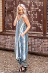A Better Day Floral Paisley Boho Pocket Maxi Dress in Blue Sage - Filly Flair