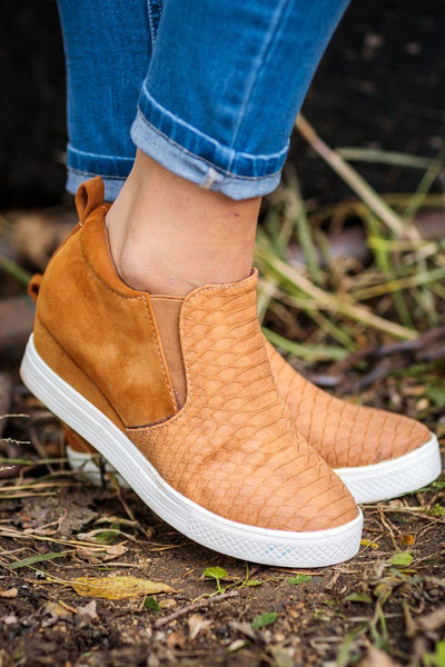 All In Snakeskin Textured Wedge Sneaker in Tan - Filly Flair