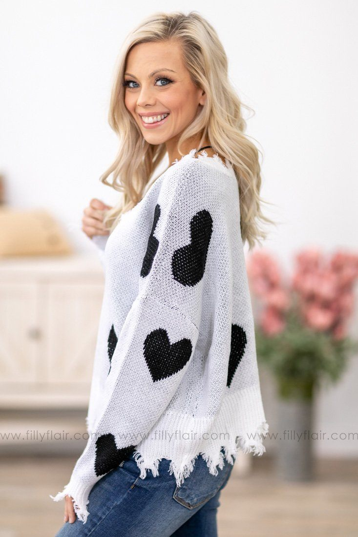 My Heart Is Yours Long Sleeve Tattered Crop Sweater in Black White - Filly Flair