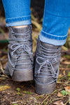 Bombshell Lace Up Booties in Grey - Filly Flair