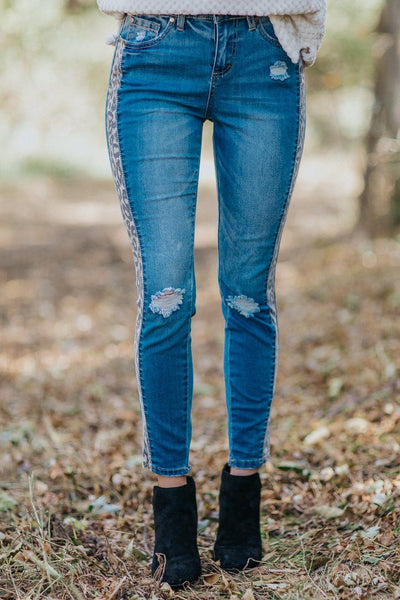You Found Me Leopard Stripe Light Wash Jeans - Filly Flair