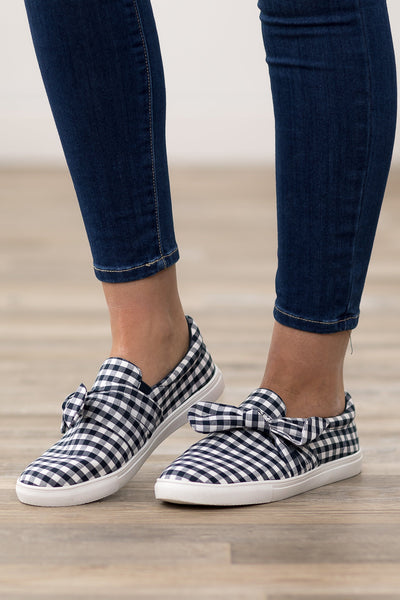 I'm All In Navy White Checkered Bow Slip on Shoes - Filly Flair