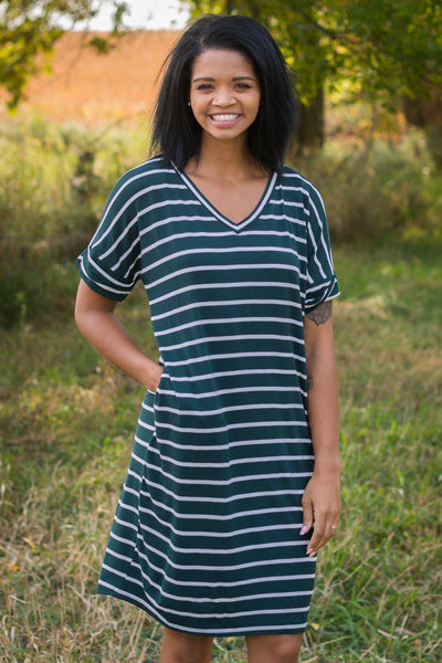 Just a Little Bit Striped Short Sleeve Dress in Hunter Green - Filly Flair