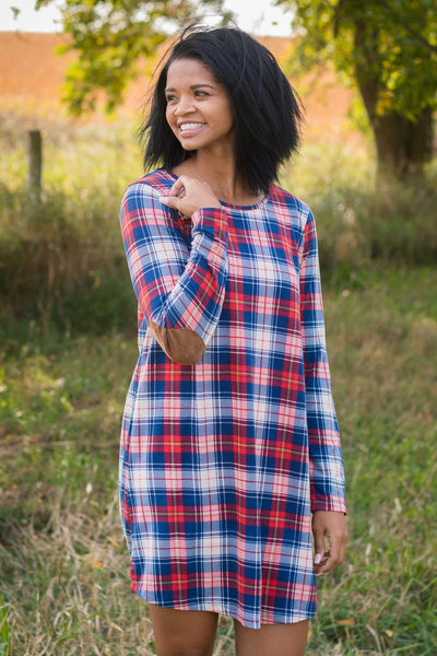 Do The Two Step Plaid Dress in Red and Blue - Filly Flair