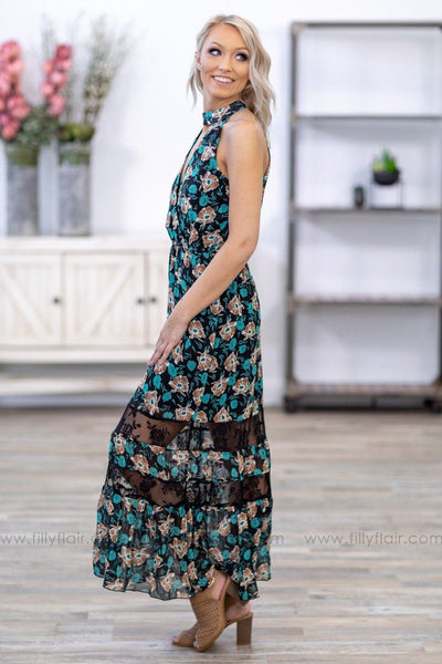 Forgive and Forget Halter Floral Lace Maxi Dress in Teal Black - Filly Flair