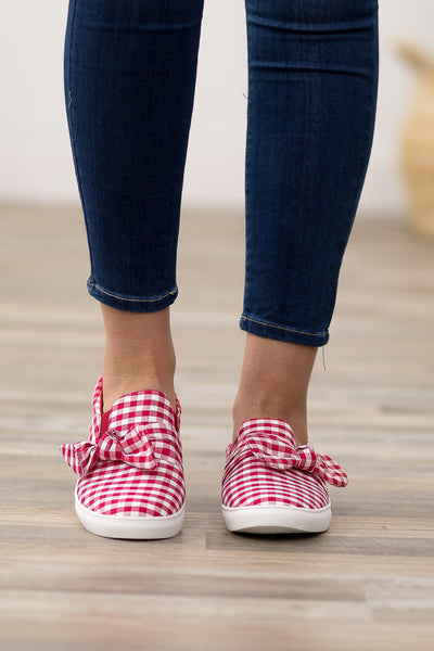 I'm All In Red White Checkered Bow Slip on Shoes - Filly Flair